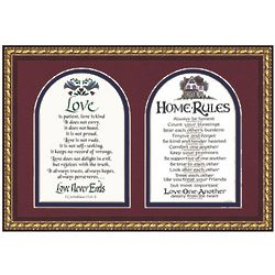 Home Rules with Bible Verses Cherry Framed Wall Hanging