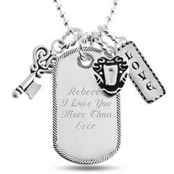 Padlock and Key Love Dog Tag