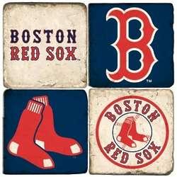Boston Red Sox Tumbled Italian Marble Coaster Set