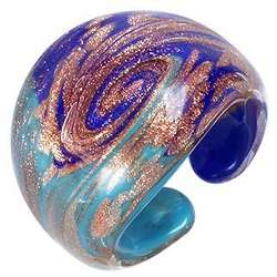 Laguna Blue & Gold Murano Glass Ring