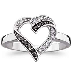 Sterling Silver Black and White Cubic Zirconia Open Heart Ring