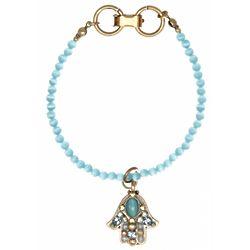 Blue Beaded Hamsa Bracelet
