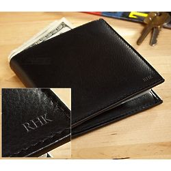 Burlington Personalized Black Leather Bi-Fold Wallet