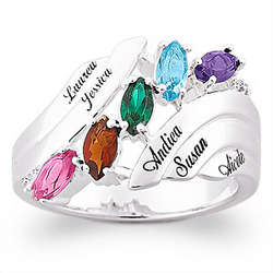 Silvertone Family Marquise Birthstone Diamond Accent Name Ring