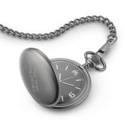 Black Dial Gunmetal Pocket Watch