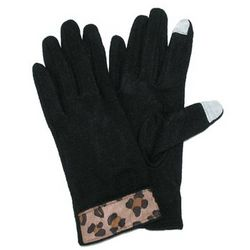 Touch Tech Glove with Leopard Trim