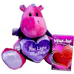 You Light My Fire Mike and Ike Passion Mix Valentine Plush Dragon