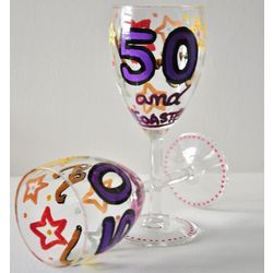Personalized 50 and Toasted Wine Glasses