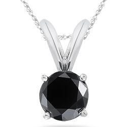 Round Black Diamond Solitaire Pendant in 14-Karat White Gold