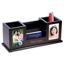 Multi-Function Desk Organizer with Twin Photo Frames