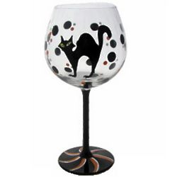 Black Cat Hand Painted Wine Glass