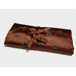 Brown Silk Jewelry Roll