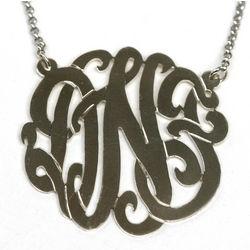17mm Cut Out Monogram Necklace