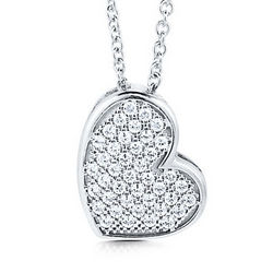 Sterling Silver Heart Pendant Necklace in Micro-Pave CZ