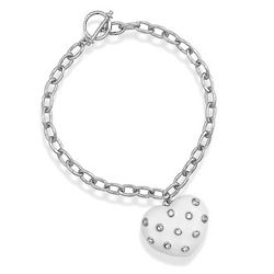Sterling Silver White Enamel Heart Bracelet