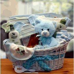 Blue Deluxe Organic Baby Gift Basket