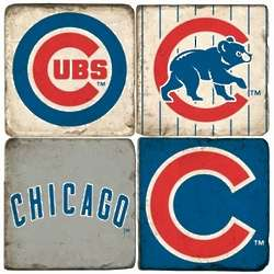 Chicago Cubs Tumbled Italian Marble Coaster Set