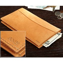 Personalized Tan Leather Checkbook Wallet