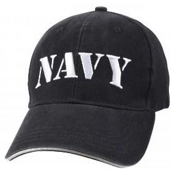 Navy Embroidered Deluxe Cap in Vintage Blue