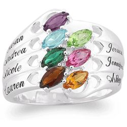 Silvertone Family Name and Marquise Birthstone Hearts Ring