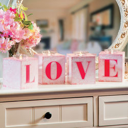 Love Block Votive Candle Holders