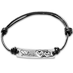 Sisters Silver Hearts Cord Bracelet