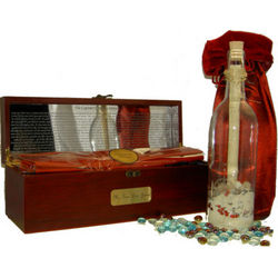 Captain's Heart Compass Treasure Chest with Message Bottle