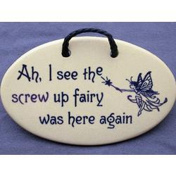 Screw Up Fairy Ceramic Wall Plaque