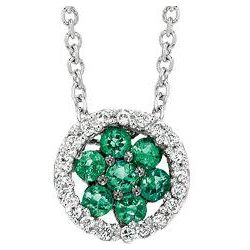 14K White Gold Flower Emerald & Diamond Circle Pendant