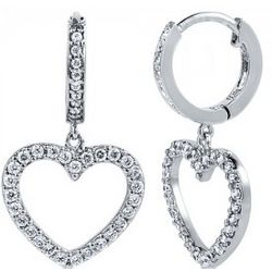 Cubic Zirconia Sterling Silver Heart Dangle Earrings
