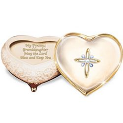 Heart-Shaped Porcelain Music Box for Granddaughter