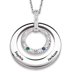 Sterling Silver & Stainless Steel Name & Birthstone Pendant