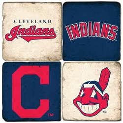Cleveland Indians Tumbled Italian Marble Coaster Set