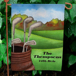 Personalized 19th Hole Golf Garden Flag