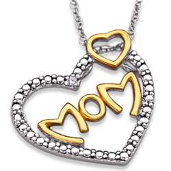 Sterling Silver Two-Tone Mother's Diamond Accent Heart Necklace
