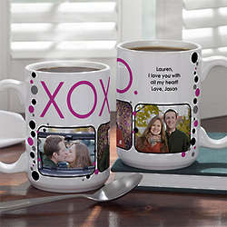 Personalized Hugs and Kisses Large Photo Coffee Mug