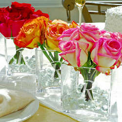 3 Engraved Glass Vase Wedding Centerpieces