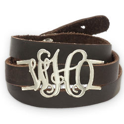 Personalized Leather Wrap Monogram Bracelet