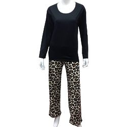 Long Sleeves Top and Leopard Print Pant PJs