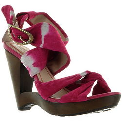 Pink Suede Wedge Shoes