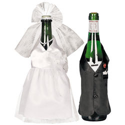 Bride and Groom Wine Bottle Covers