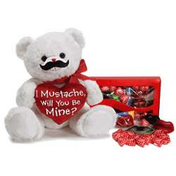 I Mustache Will You Be Mine Plush Valentine Bear with Candy