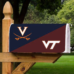 Virginia Cavaliers and Virginia Tech Hokies House Divided Mailbox