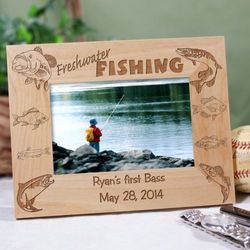 Personalized Freshwater Fishing Wood Picture Frame
