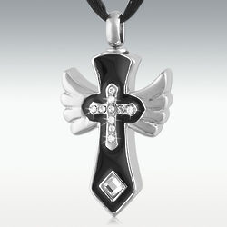 Personalized Heavenly Cross Stainless Steel Cremation Pendant