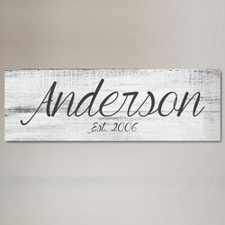 Big Family Name Rustic Sign Personalized Canvas Print