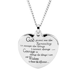 Personalized Stainless Steel Serenity Prayer Heart Pendant