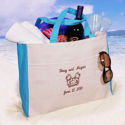 Destination Wedding Gift For Bride And Groom : Embroidered Honeymoon Beach Tote Bag - FindGift.com