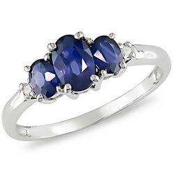 Created Sapphire & Diamond 10K White Gold Ring