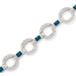14K Baguette Blue Sapphire & Diamond Tennis Bracelet